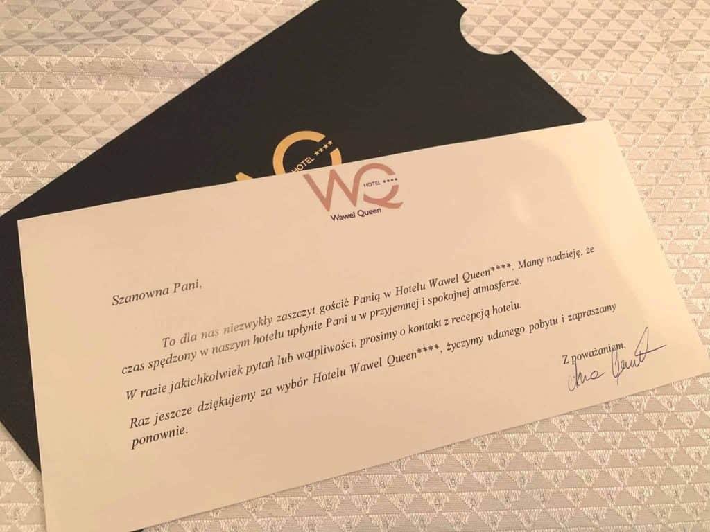 List powitalny w Hotel Wawel Queen ****