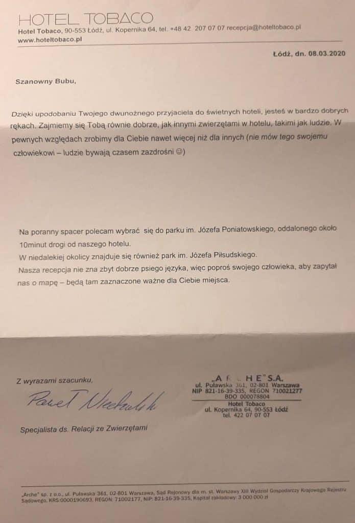 List powitalny jaki otrzymał mój pies Bubu w Hotelu Tobaco
