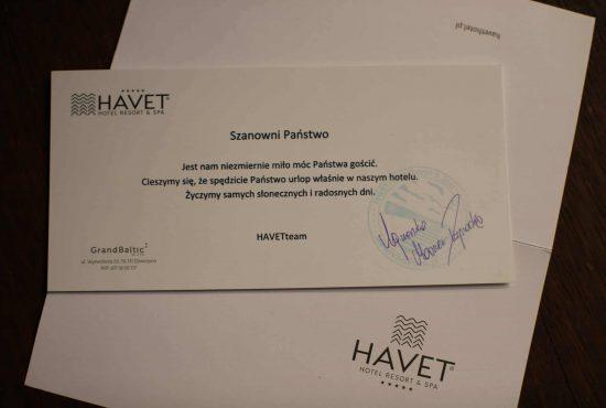 List powitalny w hotelu
